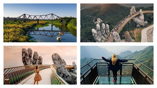 Fire-breathing bridge and impressive bridges with visitors in Vietnam