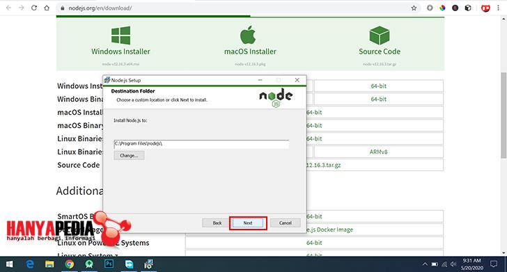 Install node.js dan npm