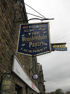 Sign for the Wensleydale Pantry Café, Hawes, England