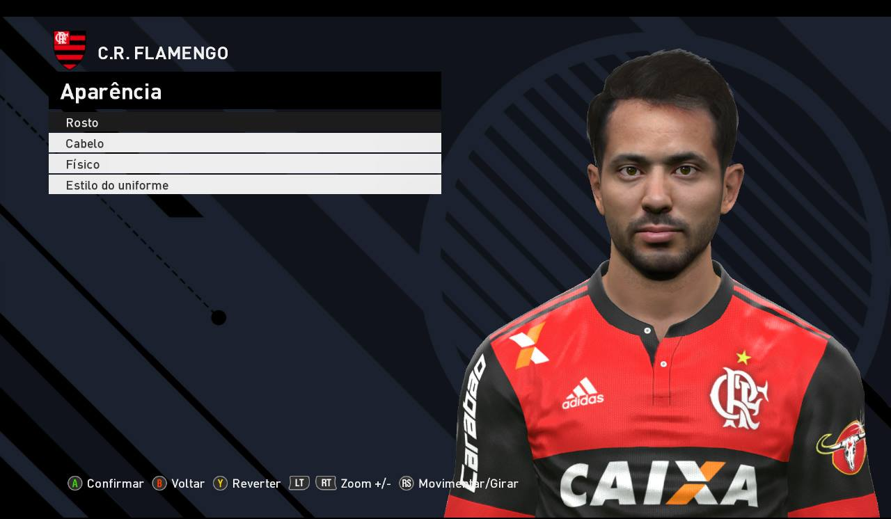 PES 2017 Everton Ribeiro (CR Flamengo) Face by JR Facemaker