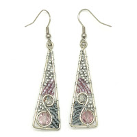 Dunitz Silver and Purple Triangle Earrings