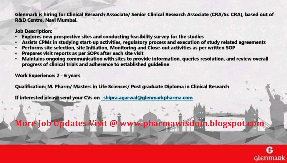 Glenmark Pharmaceuticals – Hiring for Clinical Associate / Sr