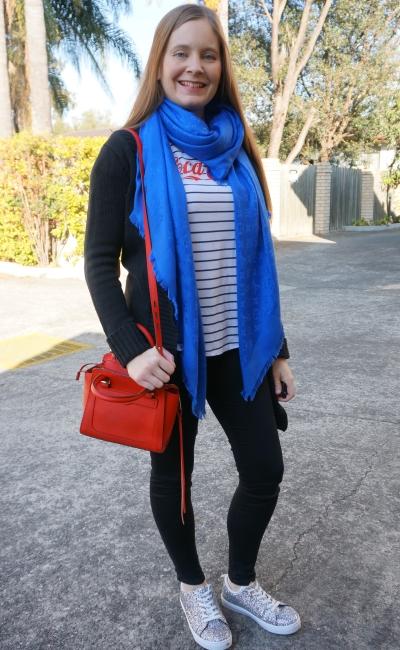 coca cola logo stripe tee skinny jeans black cardi louis vuitton cobalt scarf red avery bag | awayfromblue