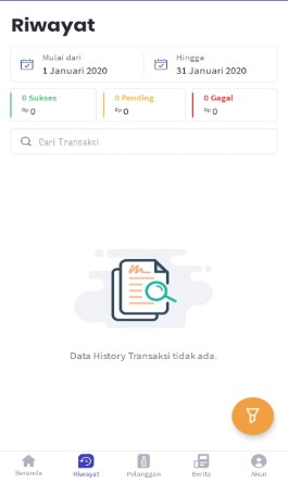 Tampilan Menu History Transaksi di Aplikasi KiosonPulsa.com