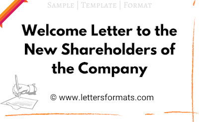 sample of welcome letter to new shareholders