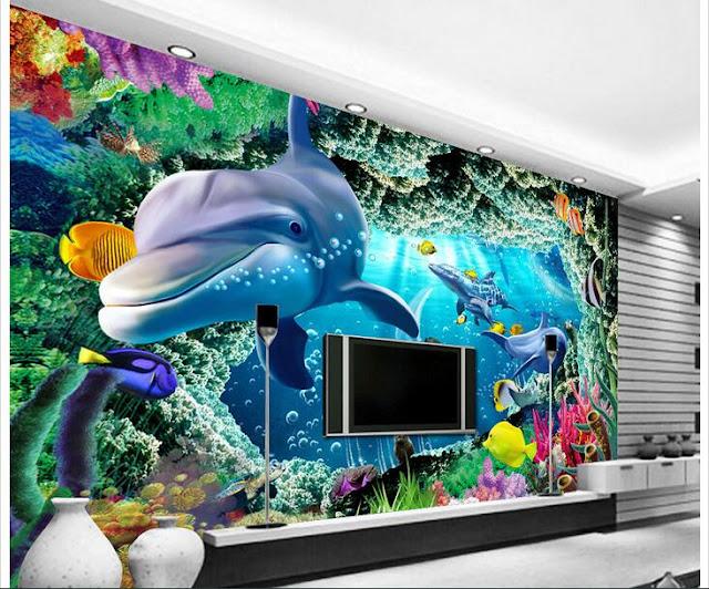 Dolphin Wall Mural 3D Coral Reef Underwater Livingroom