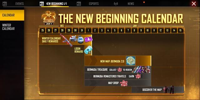 The New Beginning Calendar Free Fire New Event