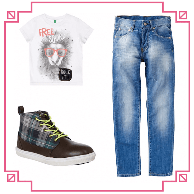 Levi jeans, Benetton t-shirt, Billybandit high top trainers