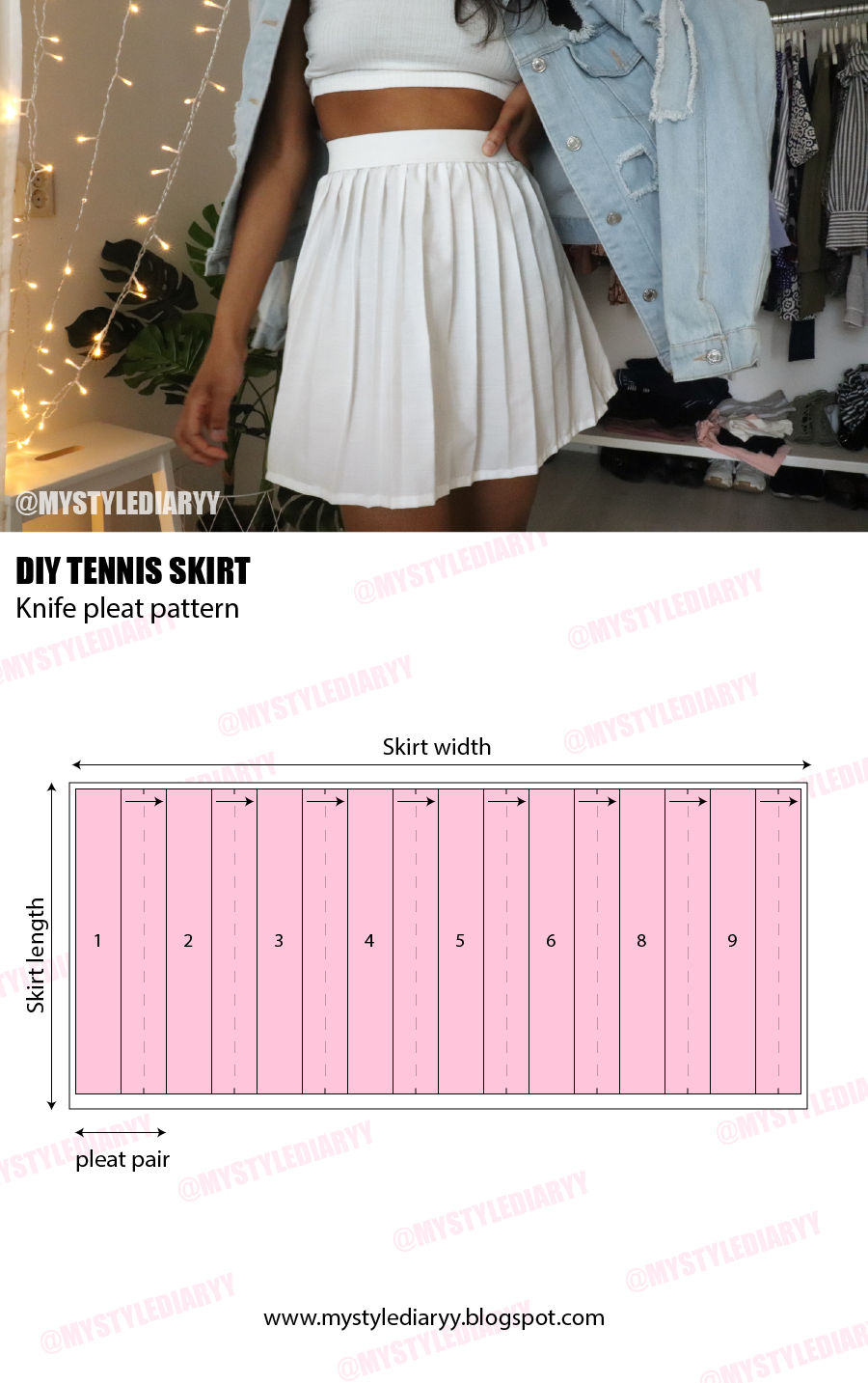 A sewing pattern reference of the tennis skirt