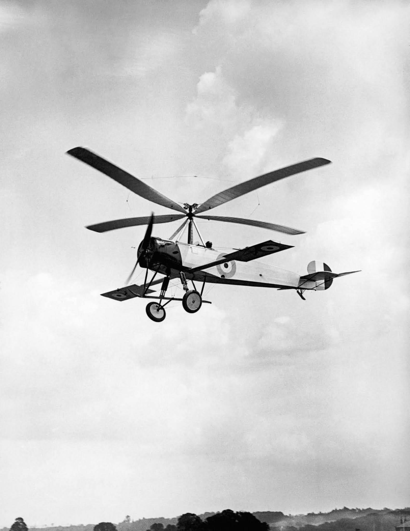 A British test pilot flies a Ciervas C-30 autogyro. 1926.