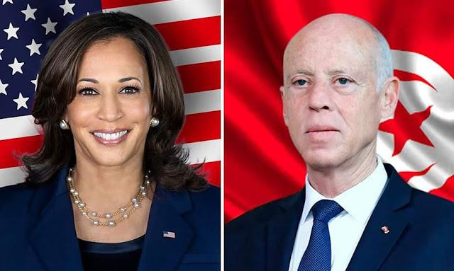 Kaïs Saïed s'entretient avec Kamala Harris, vice-présidente des USA