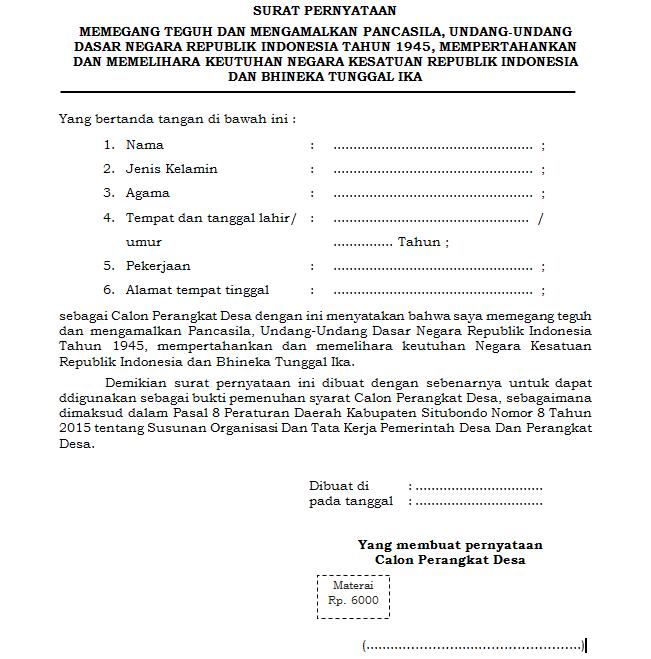 Surat Pernyataan Memegang Teguh Dan Mengamalkan Pancasila Antapedia Com
