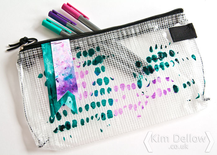 A decorated Mesh Bag with gel and Color Burst. By Kim Dellow