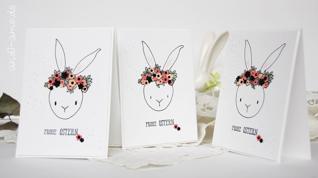 Osterkarte Hase mit Blumenkranz Stampin Up
