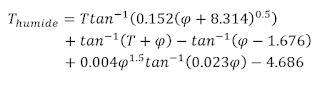 calcul de la température de thermomètre mouillé par la formule de Stull