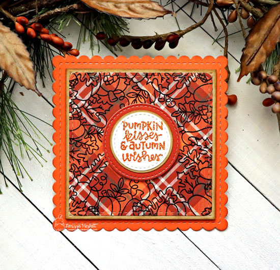 Pumpkin Kisses Card by Larissa Heskett | Fall Fringe Stamp Set and Frames Squared Die Set by Newton's Nook Designs #newtonsnook #handmade