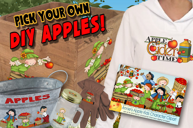 Annie Lang has Apple Cider Kids and Apple Clipart along with Apple Kids and Acorn Frolics patterns for your DIY projects!