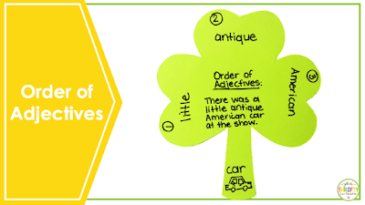 ELA order of adjectives activities for upper elementary