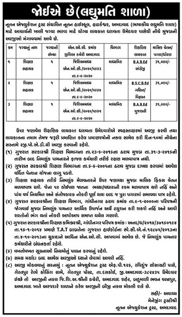 Shikshan Sahayak Recruitment for Laghumati School, Ahmedabad 2020