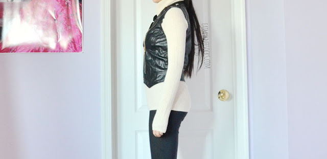 Black faux leather triple zippered detailed vest from Romwe