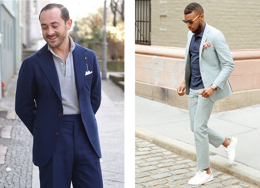 Mimosas and me how to wear a polo or tee with your suit for Polo shirt with jacket