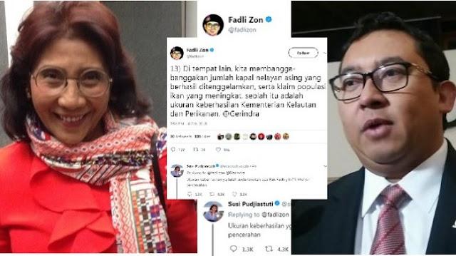 """Sindir Kinerja Menteri Susi, Fadli Zon Ditanya Balik """"Apa Keberhasilannya?"""""""