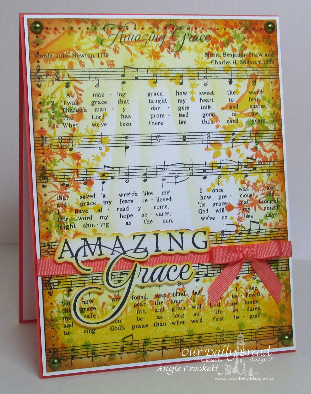 ODBD Amazing Grace Script Music Background, ODBD How Sweet the Sound, ODBD Bird Borders and Corners, Card Designer Angie Crockett