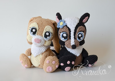 Krawka: Miss Bunny and Skunk Flower - disney bambi inspired crochet pattern by Krawka