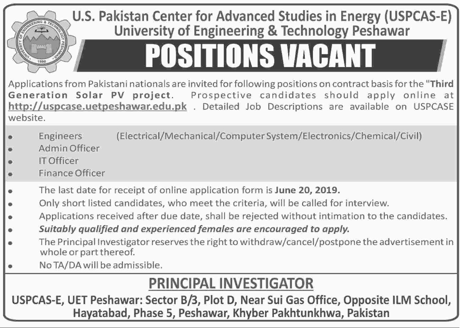 Positions Vacant in University of Engineering and Technolgy Peshawar 12 June 2019