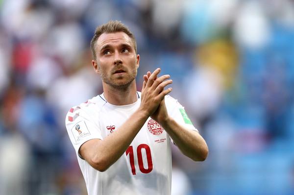 Christian Eriksen of Denmark applauds fans after the 2018 FIFA World Cup Russia group C match between Denmark and Australia