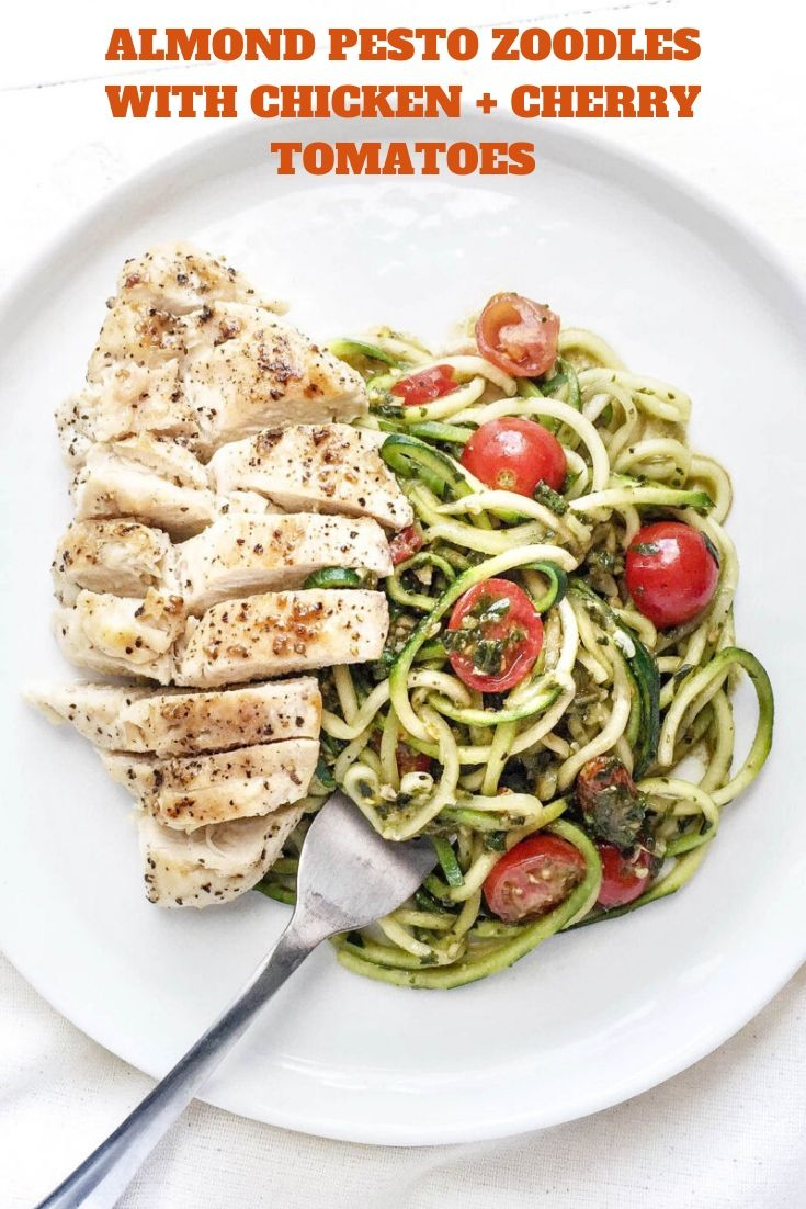 ALMOND PESTO ZOODLES WITH CHICKEN + CHERRY TOMATOES