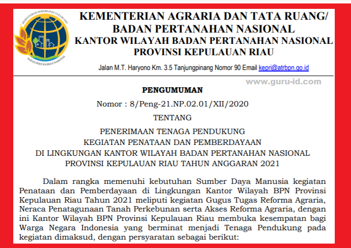 gambar rekrutmen tenaga pendukung BPN 2021