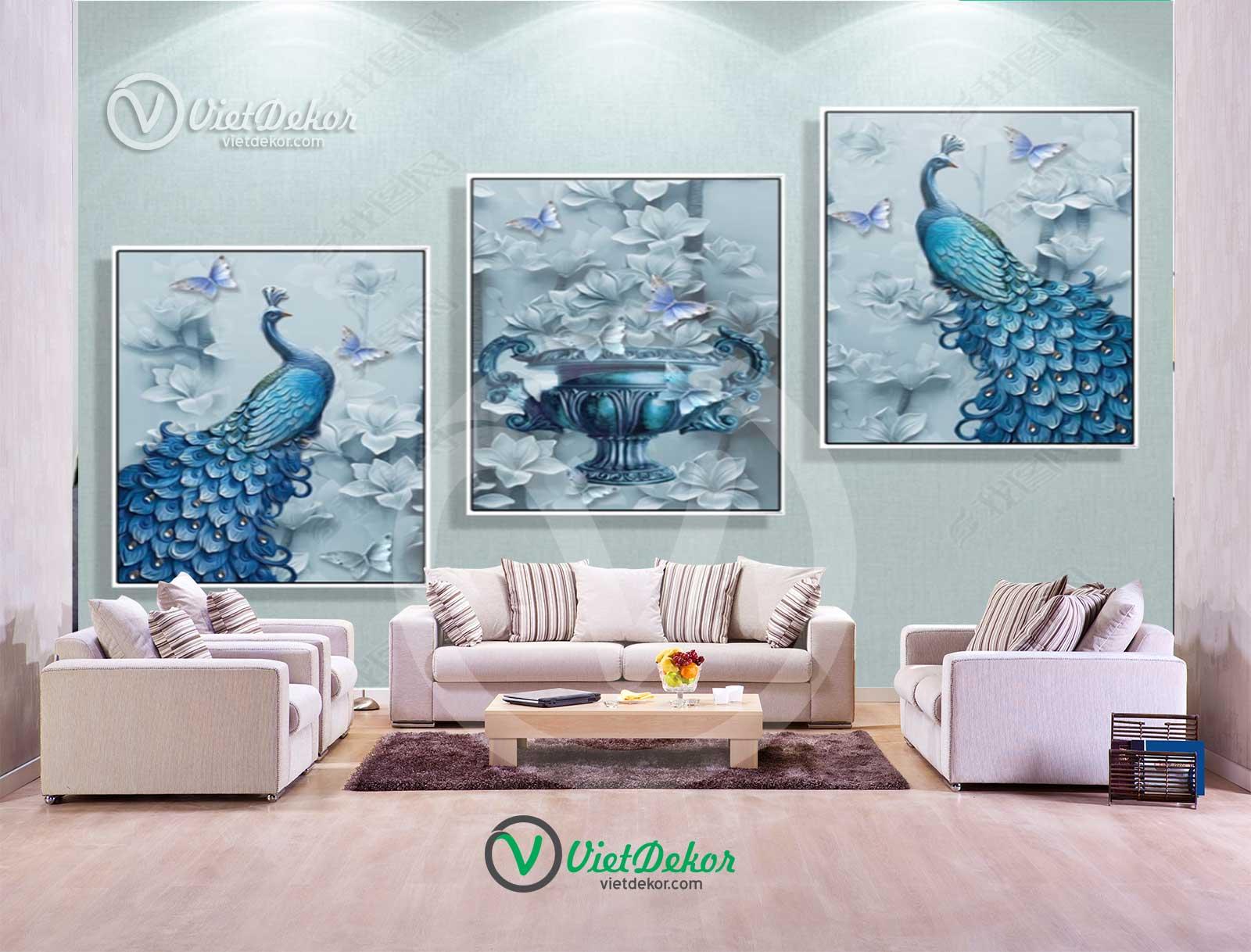 Tranh bộ treo tường 3d chim công xanh
