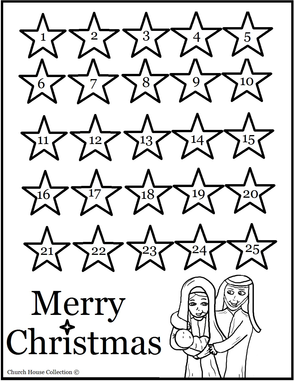 Church house collection blog nativity sunday school lesson for Free advent calendar coloring pages