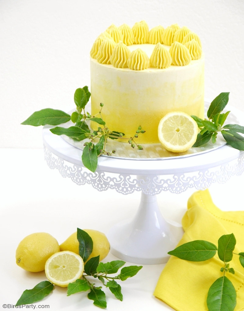 Lemon Ombre Layer Cake with Lemon Curd Filling - delicious lemon sponge with a silky smooth Swiss meringue Buttercream frosting! by BirdsParty.com @birdsparty #lemoncake #layercake #ombrecake #lemonombrecake #lemoncurdcake #lemoncurd #cakedesign #cakerecipe