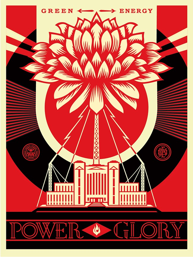 """Green Power"" Obey Giant Screen Print by Shepard Fairey"