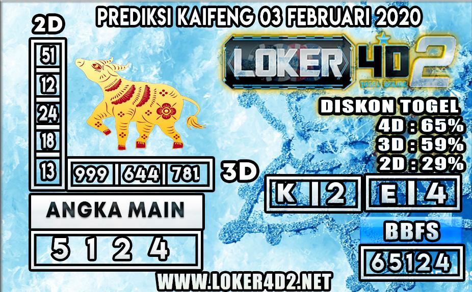 PREDIKSI TOGEL KAIFENG LOKER4D2 03 FEBRUARI 2020