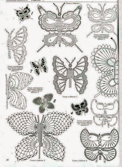 10 mariposas crochet - diagramas y paso a paso | Crochet y Dos ...