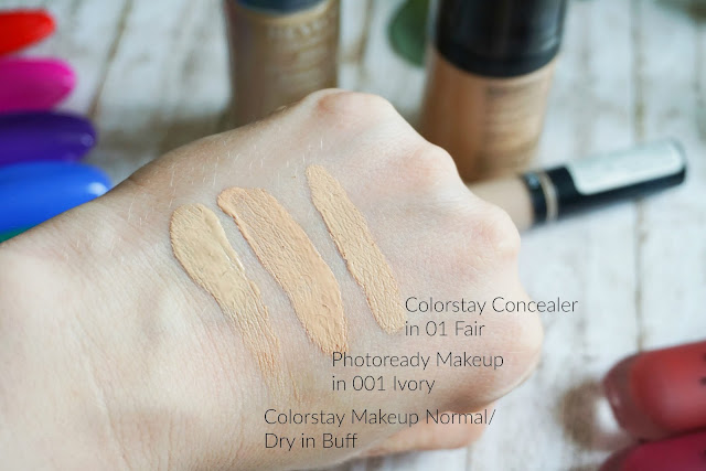 Revlon Colorstay Concealer in 01 Fair  Colorstay Makeup Normal/Dry in 150 Buff Photoready Airbrush Effect Makeup in 001 Ivory