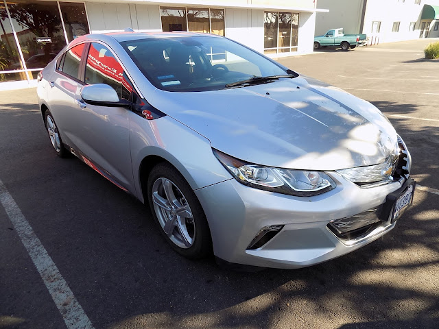 Crashed front on 2017 Chevy Volt before collision repairs at Almost Everything Auto Body.