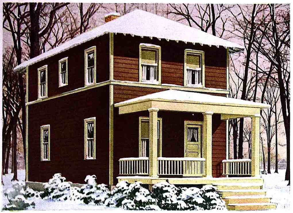 a 1933 home exterior in winter, color illustration, brown and purple