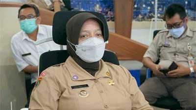 Hj Yuli Hastuti, SH dalam rapat secara virtual di Command Center