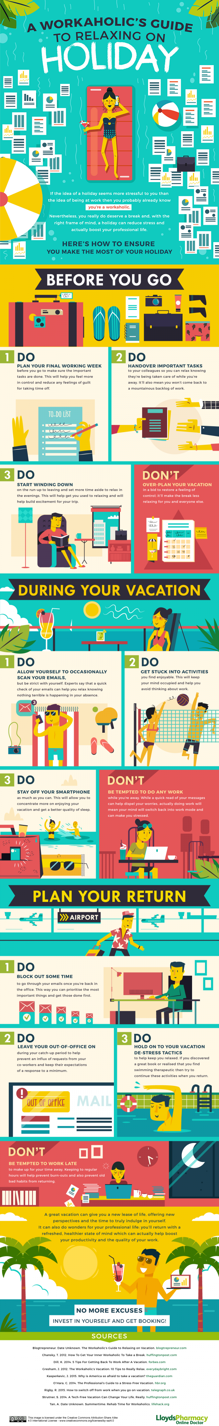 A Workaholic's Guide to Relaxing on Holiday #infographic