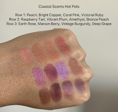 coastal scents hot pots swatches on dark skin (peach, bright copper, coral pink, victorian ruby, raspberry tart, vibrant plum, amethyst, bronze peach, earth rose, maroon berry, vintage burgundy, deep grape)