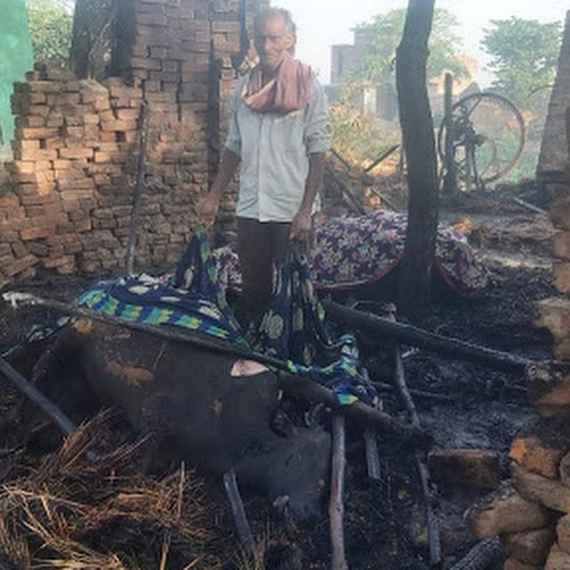 अज्ञात कारणों से झोपड़ी में लगी आग : रिहायशी सामानों संग 2 गाय भी जली, दोनों की जलने से मौत