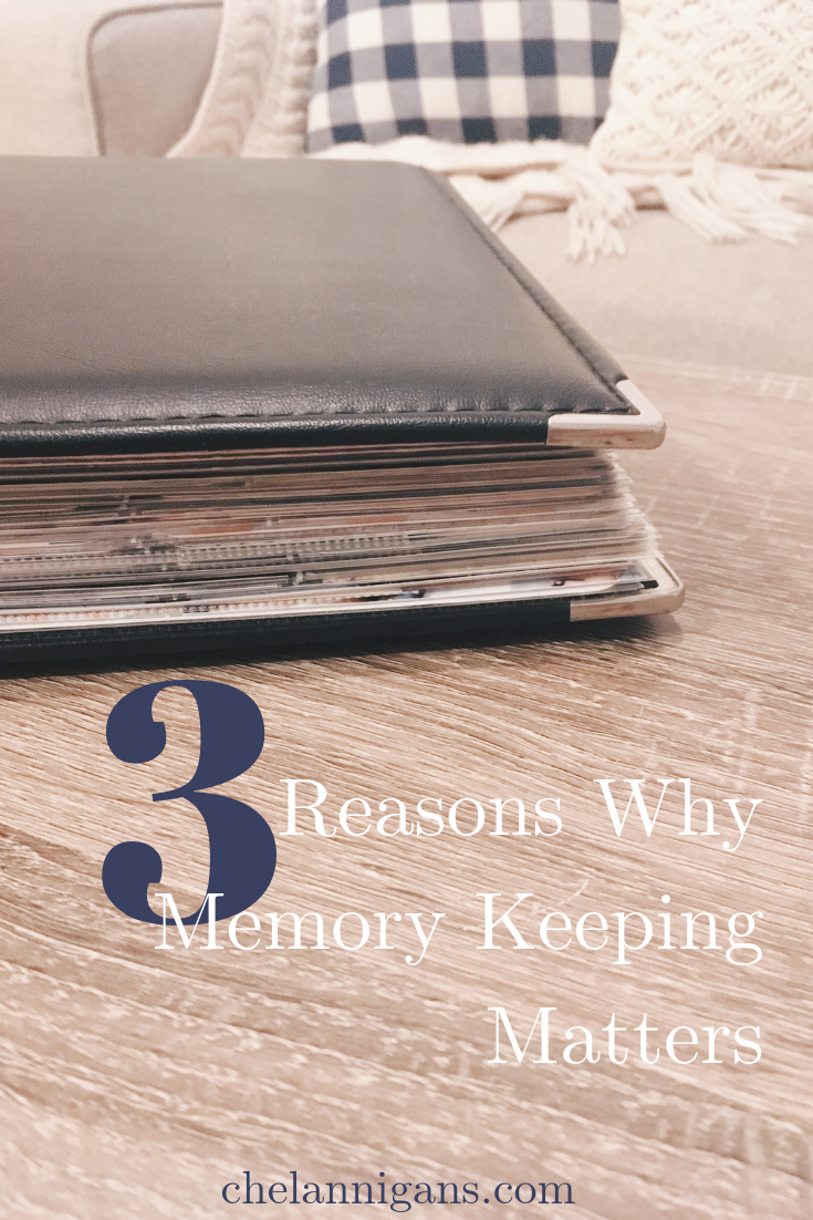"Photo album on a table with text overlay ""3 Reasons Why Memory Keeping Matters"""