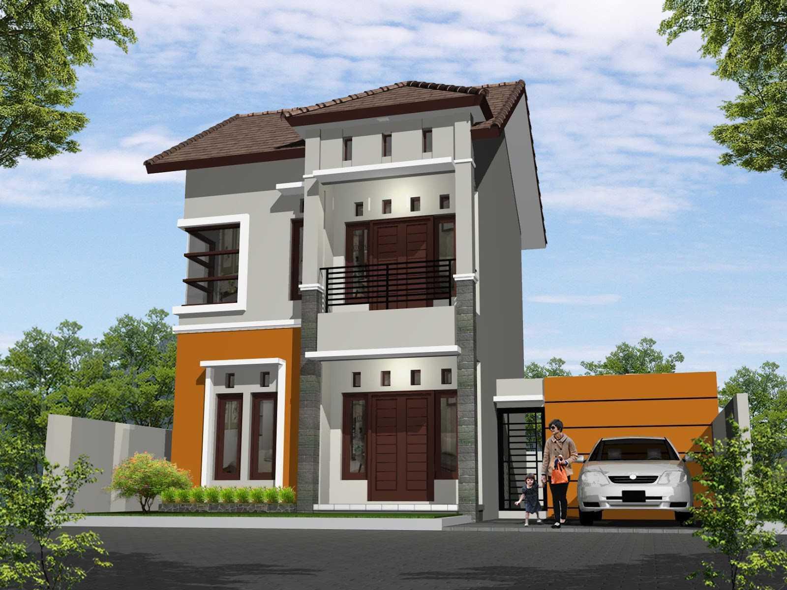 Desain Rumah 2 Lantai Sederhana dengan Garasi Mobil Sederhana dengan Warna Abu Abu
