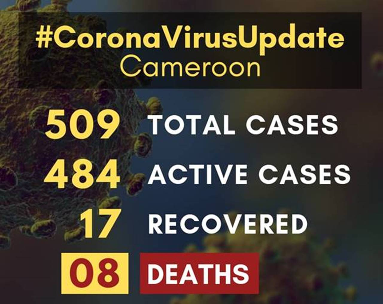 Coronavirus cases in Cameroon surpass 500 as mortality climbs to 8
