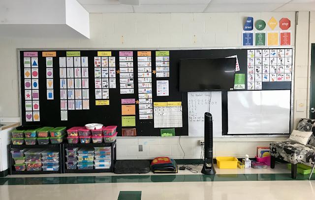 meeting area, kindergarten word wall