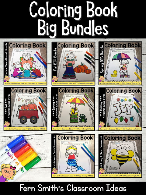You can click on the link below to arrive at my TpT store already sorted for the grade level items you want for your class. Seasonal Coloring Pages Discounted Bundles for your Pre-K, Kindergarten, or First Grade Students. #FernSmithsClassroomIdeas